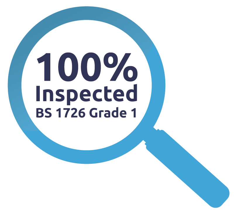 100% Inspected to BS BS 1726-Grade 1 Standards